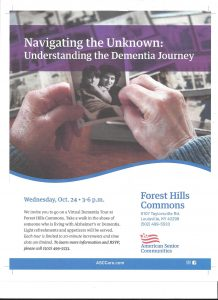 Forest Hills Commons, Dementia, Navigating the Unknown, Understanding the Dementia Journey