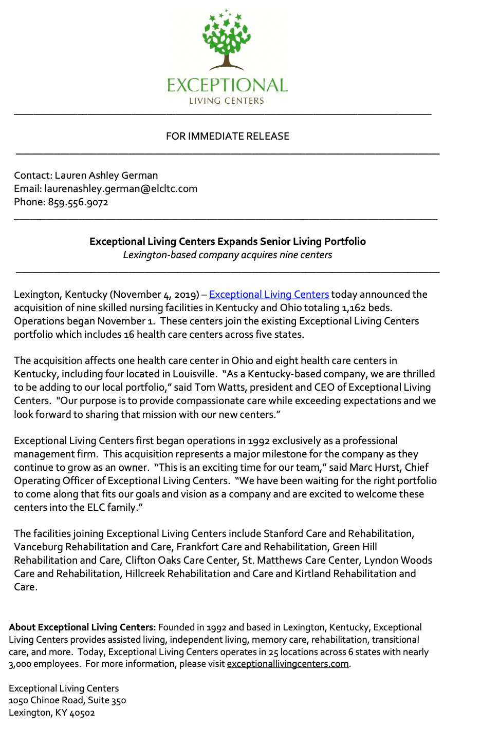 Exceptional Living Centers Expands Senior Living Portfolio, Senior Living in Kentucky, Kentucky Senior Living Association, Exceptional Living Centers
